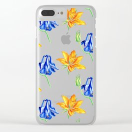 Columbine and Lily Hand Painted Diagonally Repeating Floral Pattern Clear iPhone Case