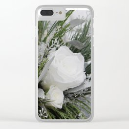 White Winter Roses Clear iPhone Case