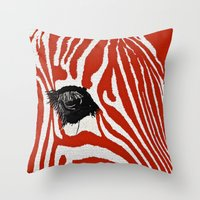 zebra Throw Pillows featuring Zebra by Saundra Myles