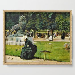 Charles Courtney Curran - In The Luxembourg Garden - Digital Remastered Edition Serving Tray