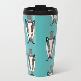 Mr. Badger illustration character cute badgers animal top hat mustache woodland Travel Mug