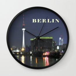 Night at river Spree in BERLIN Wall Clock