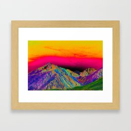 California's Sierra Mts-Digital Art, Green & Purple Framed Art Print