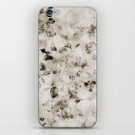 Vintage shabby elegant white gray roses floral iPhone Skin