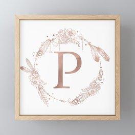 Letter P Rose Gold Pink Initial Monogram Framed Mini Art Print