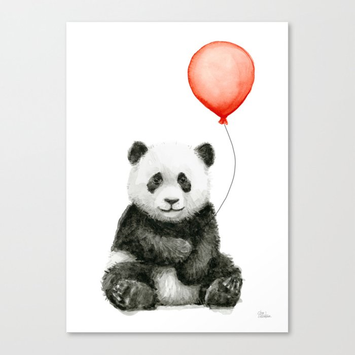 Panda and Red Balloon Baby Animals Watercolor Canvas Print