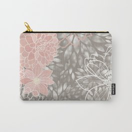 Floral Pattern Dahlias, Blush Pink, Gray, White Carry-All Pouch