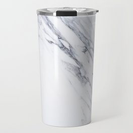 White Marble with Classic Black Veins Travel Mug