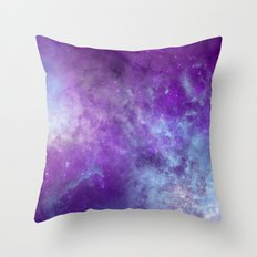 Purple Cloud Nebula Watercolor Universe Throw Pillow
