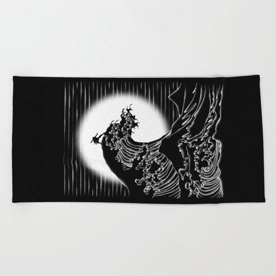 Waterbending (Black) Beach Towel