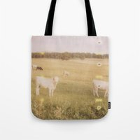 cows Tote Bags featuring Cows by Kristine Ridley