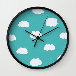 Cartoon Clouds Pattern Wall Clock
