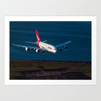 Qantas A380 over Botany Bay Art Print