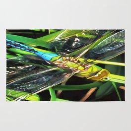 Blue Dragonfly Wings Rug