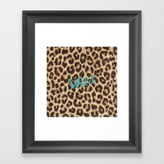 Leopard Print Teal Blue Wild Brown Girly Pattern Framed Art Print