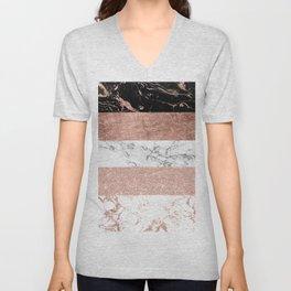 Modern chic color block rose gold marble stripes pattern Unisex V-Neck