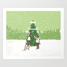 Decorating a tree Art Print