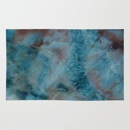 Blue, pink and white marble Rug