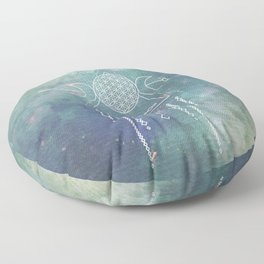 Mandala Flower of Life in Turquoise Stars Floor Pillow