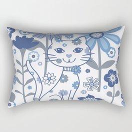 Blue and White Garden Cat Rectangular Pillow