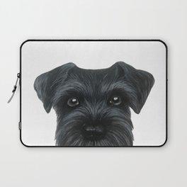 Black Schnauzer, Dog illustration original painting print Laptop Sleeve
