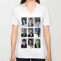 superhero V-neck T-shirts featuring Superhero Academy by Ismael Sandiego