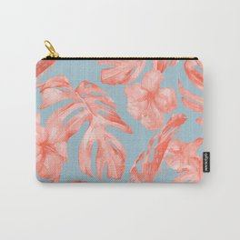 Island Life Coral on Light Blue Carry-All Pouch
