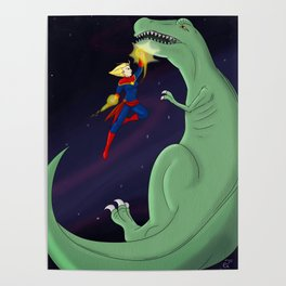 Carol Punches a Dino in Space Poster