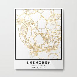 SHENZHEN CHINA CITY STREET MAP ART Metal Print