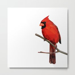 Nothern Cardinal - Low poly digital art Metal Print