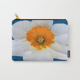 DECORATIVE ORANGE CENTERED WHITE DAFFODIL TEAL ART Carry-All Pouch
