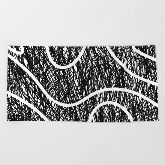 Scribble Ripples - Abstract Black and White Ink Scribble Pattern Beach Towel