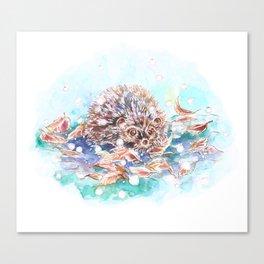 Snowy Hedgehog Canvas Print