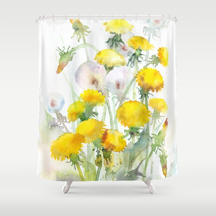 Watercolor Yellow Flowers Dandelions Shower Curtain