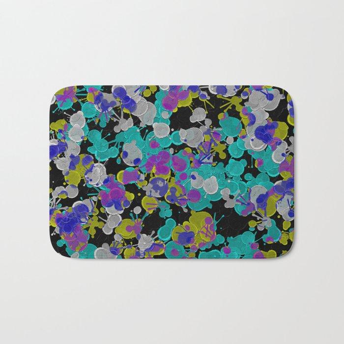 Dark Splatter - Abstract, paint splatter pattern in black, cyan, yellow, white and green Bath Mat