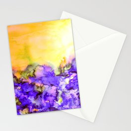 INTO ETERNITY, YELLOW AND LAVENDER PURPLE Colorful Watercolor Painting Abstract Art Floral Landscape Stationery Cards
