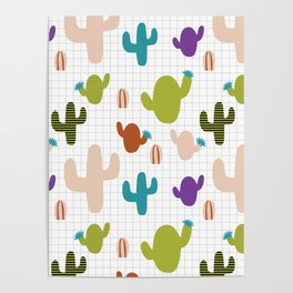 Cactus orange and green #homedecor Poster