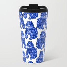 Chinese Guardian Lion Statues in Pottery Blue + White Travel Mug