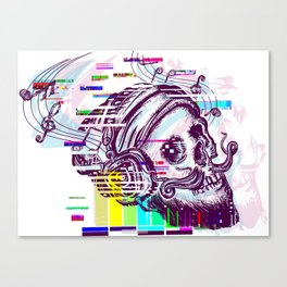 Human skull glitch Canvas Print