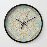 bedding Wall Clocks featuring Gypsy Floral in Soft Neutrals, Grey & Yellow on Sage by micklyn