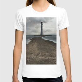 Cloudy seascape with an older lighthouse T-shirt