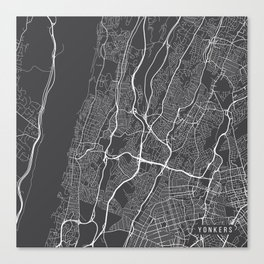 Yonkers Map, USA - Gray Canvas Print