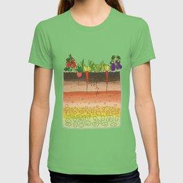 Earth soil layers vegetables garden cute educational illustration kitchen decor print T-shirt