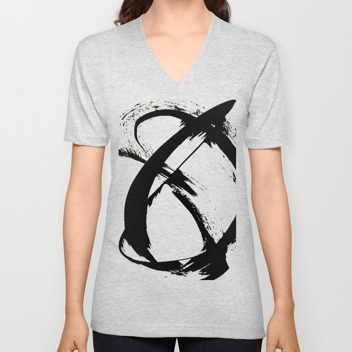 Brushstroke [7]: a minimal, abstract piece in black and white Unisex V-Neck