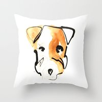 jack russell Throw Pillows featuring Jack Russell by Jen Moules