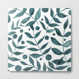 Watercolor berries and branches - teal grey Metal Print