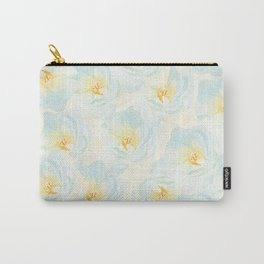 Watercolor hand painted pastel blue yellow floral pattern Carry-All Pouch