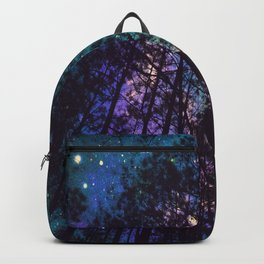 Black Trees Colorful Teal Space Backpack