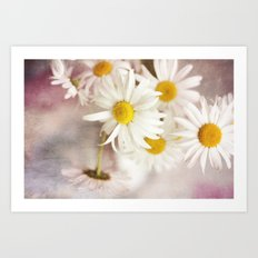 Picking daisies Art Print