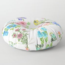 Budgies and Blooms Floor Pillow